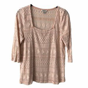 Lucky Brand Pink Lace Pattern 3/4 Sleeve Top